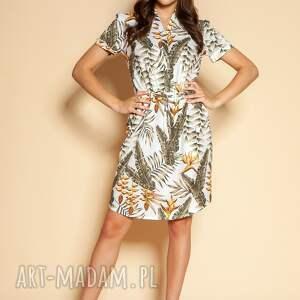 sukienki sukienka z krótkim rękawem - suk196 ecru, krótki rękaw, lenia