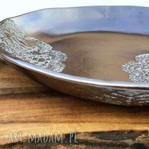 Misa ceramiczna z koronką ceramika tyka ceramika, misa, miseczka