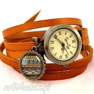 azteckie paski - zegarek bransoletka na skórzanym pasku, wzorki