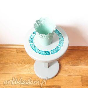 stolik/kwietnik szary z turkusową ceramiką, stolik, kwietnik, ceramika