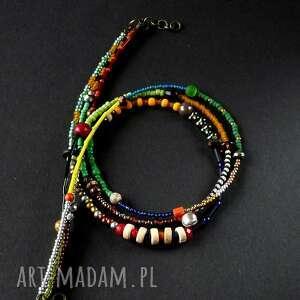 boho bajecznie kolorowy naszyjnik handmade z mnóstwa kolorowych koralików