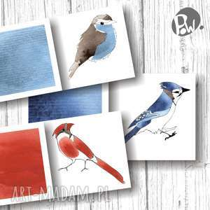 ptasie bileciki na prezenty 6 szt, bileciki, świąteczne, ptaki, prezent