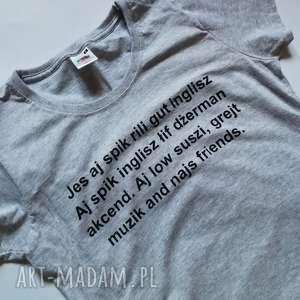 t shirt damski szary bawełniany z nadrukiem, firma fruit of the loom, koszulka