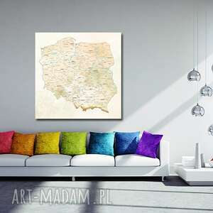 aleobrazy tablica korkowa mapa polski nr 2 obraz 50x50 pinezki dla podróżnika