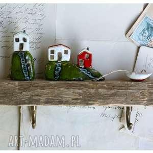 wylegarnia pomyslow wieszak z łódką na skarpie, drewno, ceramika, wieszak, domki