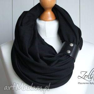 PROSTY minimalistyczny czarny komin z zapinką, czarny, komin, bawełna, zapinka