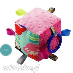 handmade zabawki kostka sensoryczna gryzak, wzór kokeshi