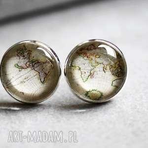 ♥ Obieżyświat Srebrne kolczyki, obieżyświat, podróże, mapa, świat, wkręty, kolczy