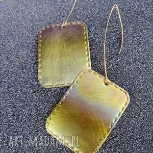 prostokątne kolorowe mosiężne kolczyki - k21, kolczyki, metalowe, unikatowe