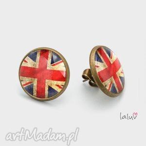 kolczyki sztyfty uk, flaga, anglia, królowa, angielskie, grafika