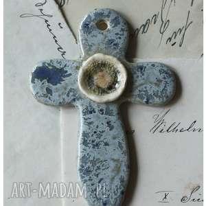 Krzyżyk szaro-niebieski, ceramika, krzyżyk, komunia