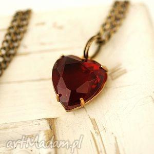 ♥ krystaliczne serce ♥ naszyjnik z brązu - brązowe