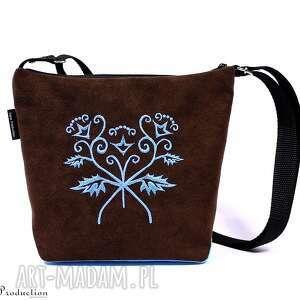 torebka z pięknym haftem brązowa, ekozamsz, prezent, haft, wyszywana, torebka