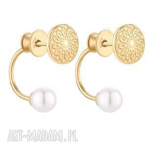 złote asymetryczne kolczyki medaliony z perłami swarovski®