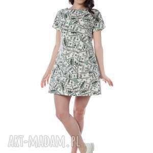 wyjątkowa tuniko-sukienka, niespotykany print w dolary, designerska