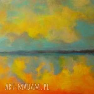 obraz na płótnie - abstrakcja 30/50 cm, obraz, pomarańcz, niebieski