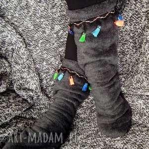 freefroo ocieplacze na stopy z frędzlami - cieplutkie puszyste grube, skarpety