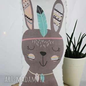 Poduszka przytulanka, indiański króliczek, bawełna, szare minky!, królik, poduszka
