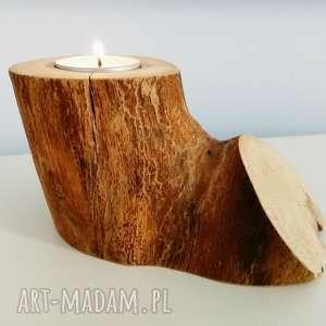 świecznik drewniany - ,świecznik,drewno,tealight,drewniany,skandynawski,