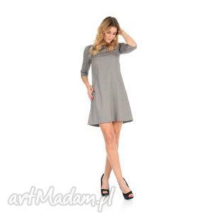 44/2-sukienka trapezowa,j.szara,krótka, lalu, sukienka, dzianina, trapez, kieszenie