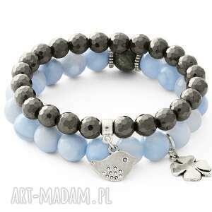lavoga azure chlcedony & steel hematite with pendants - koniczynka, chalcedon