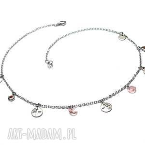 handmade naszyjniki alloys collection - kółko i krzyżyk /peach/