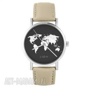 zegarek - mapa świata skórzany, beżowy, zegarek, pasek, mapa, świat
