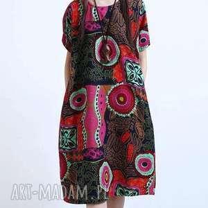 oversize sukienka w kwiaty z kieszeniami, sukienka, len, etno, bawełna, wzory