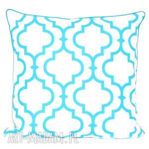 poduszki poduszka fresh turquoise-white new 50x50cm, koniczyna marokańska