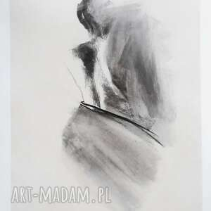 rysunek węglem - kobieta, obraz do sypialni, czarno biały, grafika