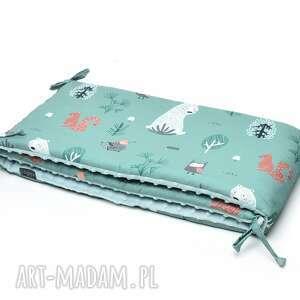 handmade dla dziecka milutka ochraniacz do łóżeczka minky dwustronny zielony las / szałwia