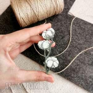 broszki broszka gałązka bawełny, bawełna, drewno dębowe, pin, kwiaty, ręcznie