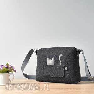 Mała grafitowa antracytowa filcowa torebka z kotem w kieszeni, kot, mała, listonoszka