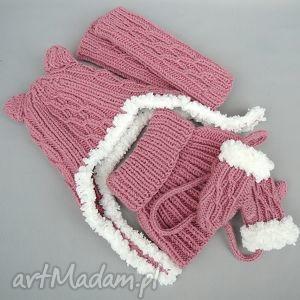b a l zamówienie specjalne, komin, czapka, rękawiczki, getry, dziewczynka