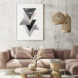 geometryczne trójkąty - plakat 40x50 cm, geometria, plakaty