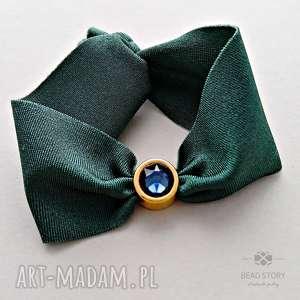Elastyczna bransoletka z kryształem,zielona, lycra, cyna, swarovski