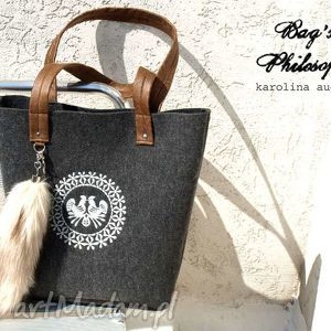 ręczne wykonanie torebki shopper bag z kitą w stylu folk!