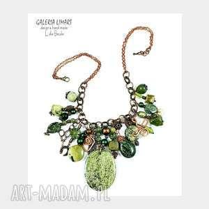 efektowny elegancki niezwykły zielony naszyjnik w stylu boho niepowtarzalny