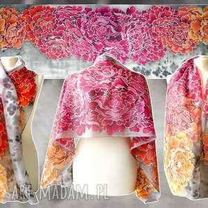 handmade chustki i apaszki szal jedwabny piwonie ręcznie malowany