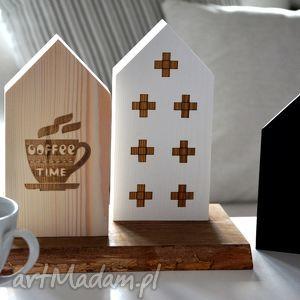 ręcznie zrobione dekoracje 3 domki czas na kawę
