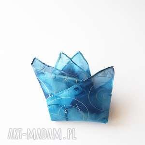 ręcznie robione muchy i muszki malowana poszetka - niebieskości i srebro