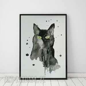 czarny kot-akwarla formatu a4, kot, abstrakcja, akwarela