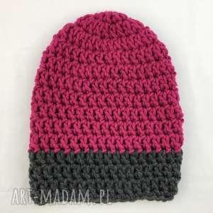 rĘcznie robiona czapka fuksja z szarym 1 hand made - czapka, czapki, szydełko