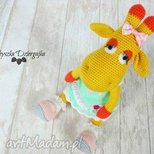 żyrafa gusia szydełkowa przytulanka, maskotka, prezent dziewczynka, urodziny