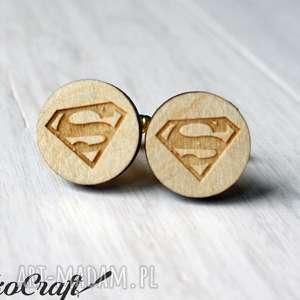 hand made spinki do mankietów drewniane superman