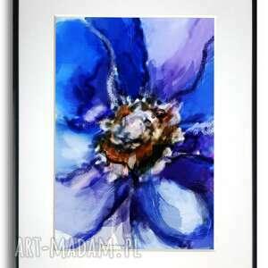 grafika w ramie z passe-partout akwarela kwiat 30x40
