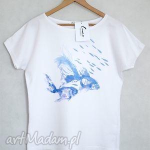 creo ryby koszulka bawełniana biała l/xl, bluzka, koszulka, t shirt, bawełna, nadruk