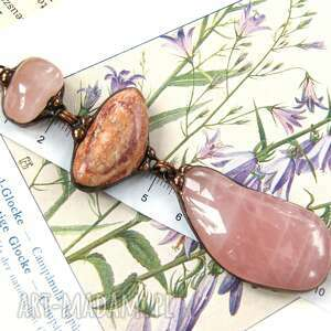 wisior z łańcuszkiem pastelowo-różowy, wisiorek kamieni, jaspis
