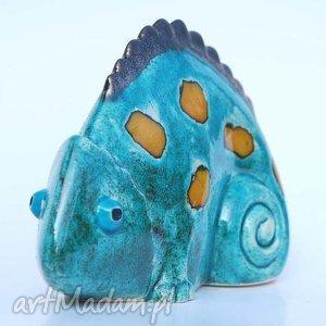 Kameleon - ,figurki,ceramika,zwierzęta,dekoracja,