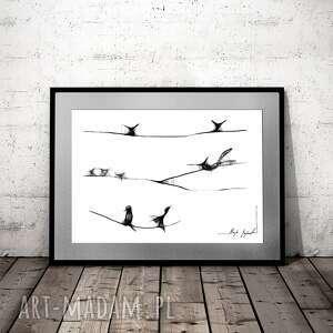 unikalny, grafika 106, z ptakami, dekoracja do salonu